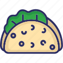 food, tacos, snack, mexican dish, tortilla tacos icon