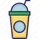 disposable glass, fruit juice, healthy juice, juice, straw icon