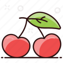 cherries, stone fruit, healthy food, food, fruit icon