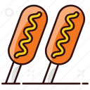 banger, cooking sausage, corn, corn dogs, dogs, sausages, wurst icon