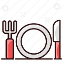 cutlery, dine, dine in, fork and knife, in, silverware, tableware icon