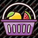 basket, food bucket, food container, food hamper, fruit, fruit basket, fruit bucket