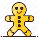 biscuit, candy, christmas cookie, cookie, gingerbread, gingerbread man, man icon