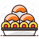 indian dessert, laddus, snack, sweet food, sweet tray icon