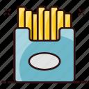 snack box, french fries, potato, frites, fries, fries box, potato fries icon