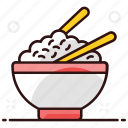boiled rice, bowl, cooked rice, cuisine, food, rice, rice bowl icon