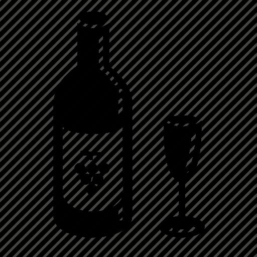 beverage, bottle, drink, glass, italian, wine icon