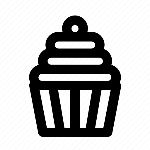 cake, cupcake, dessert, food, outline, party, sweet icon