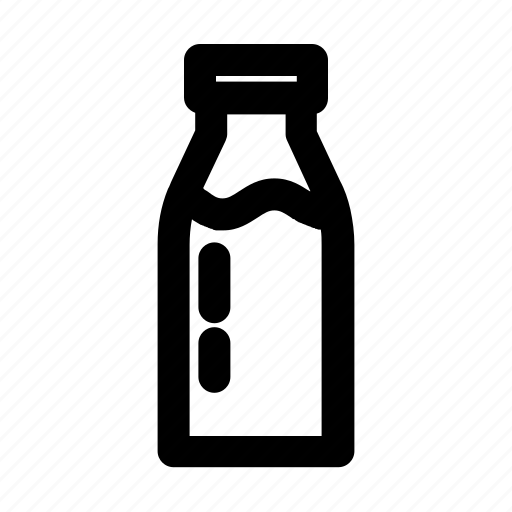 bottle, cow, drink, healthy, milk, outline, white icon