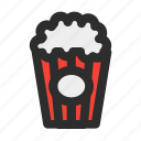cinema, corn, filled, food, movie, popcorn, snack icon