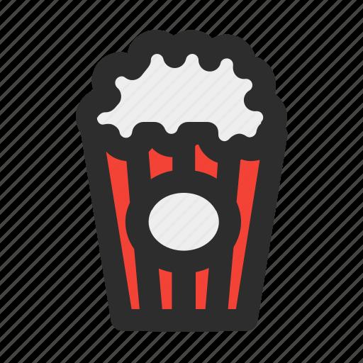 cinema, corn, filled, food, movie, popcorn, snack icon