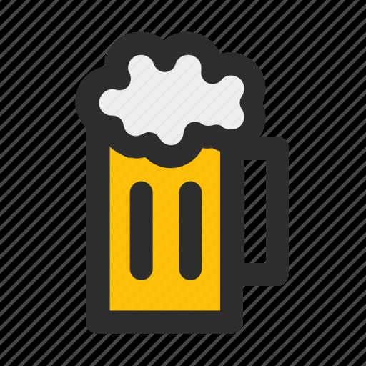 alcohol, bar, beer, beverage, drink, filled, glass icon
