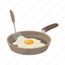 background, breakfast, cartoon, egg, frying, pan, white icon