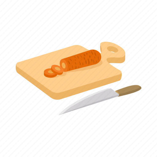 board, cartoon, cooking, cutting, knife, white, wood icon