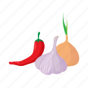 cartoon, chili, garlic, healthy, onion, pepper, white icon