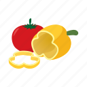 background, cartoon, fresh, pepper, tomato, vegetable, white icon