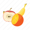 apple, banana, cartoon, food, fresh, fruit, vegetarian icon