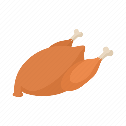 background, cartoon, chicken, cooked, food, roast, white icon