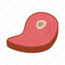 background, beef, cartoon, meat, protein, steak, white icon