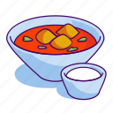 beet soup, borscht, food, gazpacho, soup, sour cream, tomato soup icon