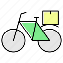 bicycle transport, delivery vehicle, food, food delivery, food transportation icon