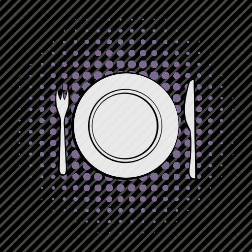 comics, cutlery, dishware, empty, knife, silverware, utensil icon