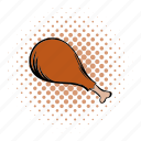 chicken, comics, dinner, food, leg, meat, nutrition icon