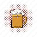 alcohol, beer, comics, drink, froth, glass, mug icon