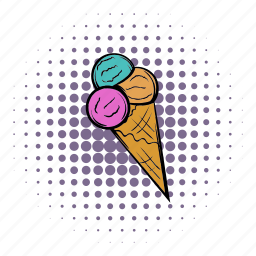 comics, cone, cream, dessert, flavor, ice, icecream icon