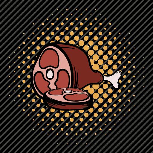 comics, dinner, food, leg, meat, nutrition, pork icon