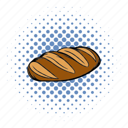 bake, bread, comics, food, loaf, meal, wheat icon