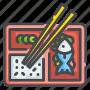bento, fish, food, japanese, oriental, restaurant, rice icon