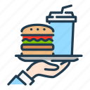 burger, food, hand, order, serving, soda, waiter icon
