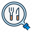 find, food, fork, knife, order, search