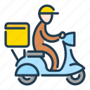 bike, courier, delivery, food, moped, moto