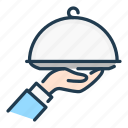 delivery, food, hand, order, plate, serving, waiter icon