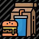burger, drink, food, fast, take, away