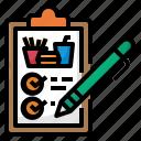 checklist, food, order, menu, note