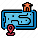delivery, map, pin, smartphone, location