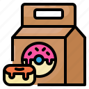 donut, package, delivery, food, home