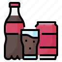 drink, can, cola, glass, bottle