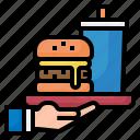order, food, fast, burger, hand