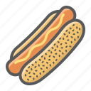 bun, dog, fast, food, hot, mustard, sausage icon