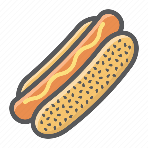 bun, dog, fast, food, hot, mustard, sausage icon