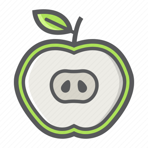 apple, cut, diet, food, fruit, half, healthy icon
