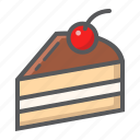 cake, cherry, delicious, dessert, food, piece, sweet