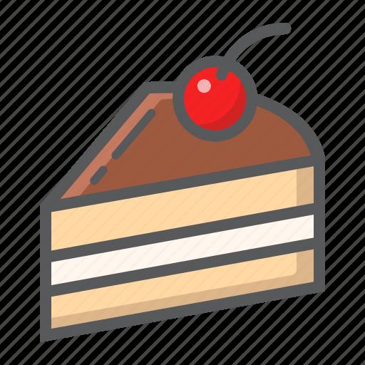 cake, cherry, delicious, dessert, food, piece, sweet icon