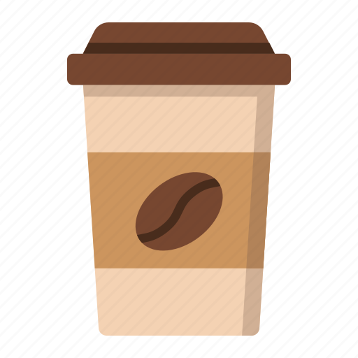bean, coffee, cup, drink, hot, latte, paper icon
