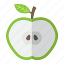 apple, cut, diet, food, fruit, half, healthy icon