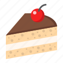 cake, cherry, delicious, dessert, food, piece, sweet